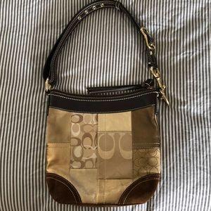 Coach shoulder bag handbag gold brown tan purse